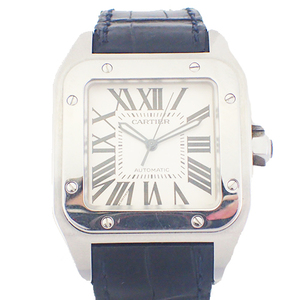 Auth Cartier Santos 100 Automatic Stainless Steel Men's Watch W20073X8