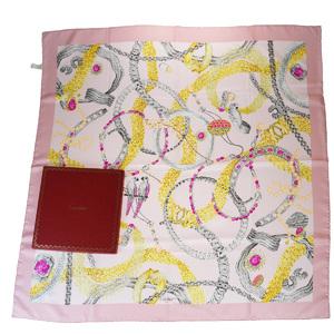 カルティエ(Cartier) シルク スカーフ ピンク