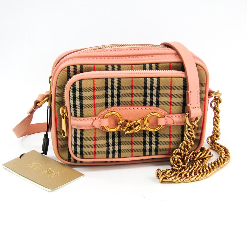 バーバリー(Burberry) LINK チェーン カメラバッグ 4079881 レディース レザー,キャンバス ショルダーバッグ ベージュ,ブラック,ピンク,レッド