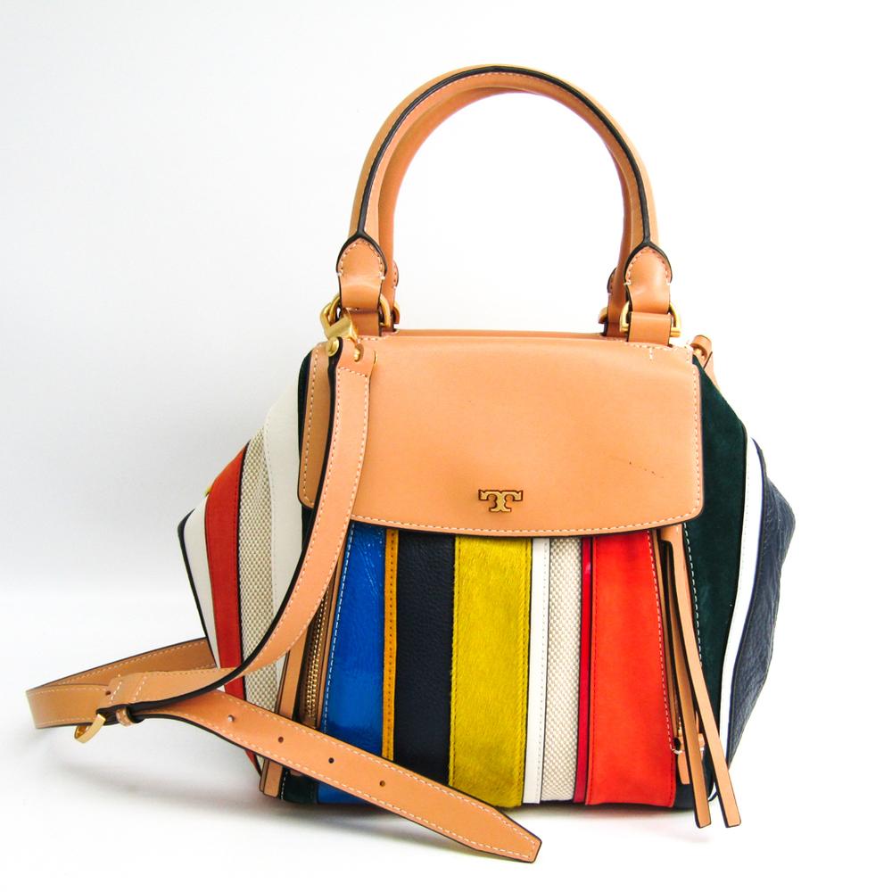 Tory Burch Half Moon Stripe Satchel Women's Leather,Canvas Handbag,Shoulder Bag Multi-color
