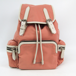Burberry 4080067 Women's Nylon,Leather Backpack Light Pink,Off-white