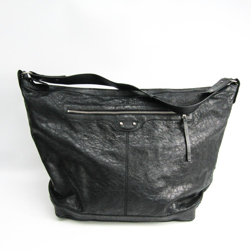 Balenciaga Courier 272410 Unisex Leather Shoulder Bag Black