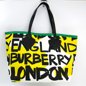 Burberry Graffiti Print 4075825 Unisex Canvas,Leather Tote Bag Black,Green,White,Yellow