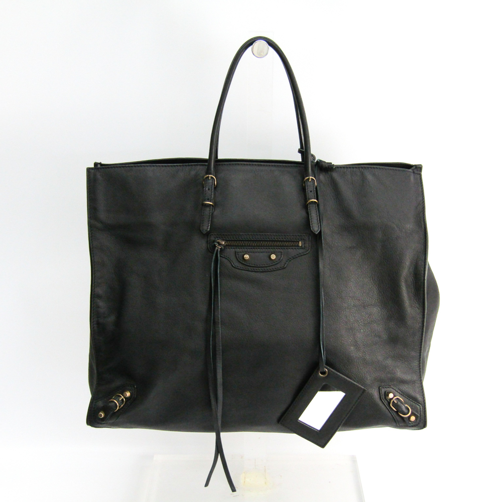 Balenciaga The Paper 236701 Women's Leather Tote Bag Black