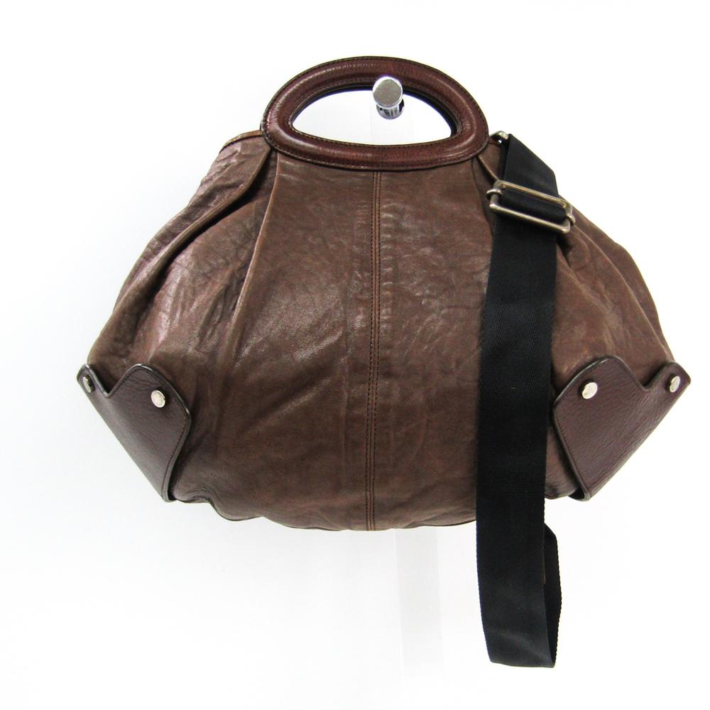 Marni Balloon Women's Leather Handbag,Shoulder Bag Dark Brown