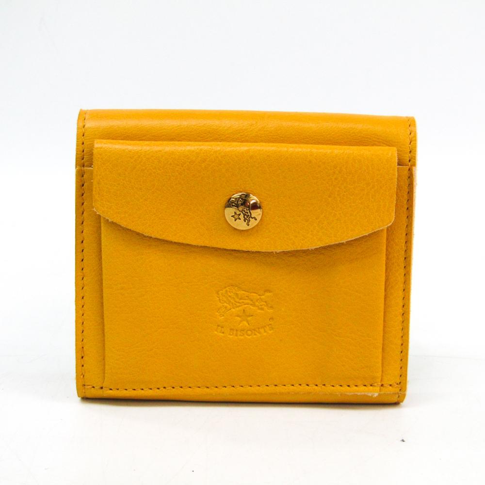 Il Bisonte Unisex  Calfskin Wallet (tri-fold) Yellow