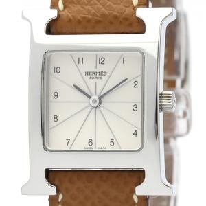 HERMES H Watch Steel Leather Quartz Ladies Watch HH1.210