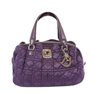 Christian Dior Cannage Hand Bag Women's Nylon Purple