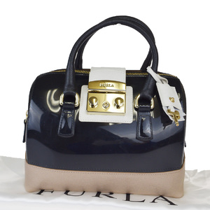 Furla Candy Rubber,Leather Handbag Black
