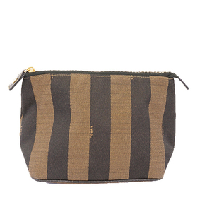 Fendi Pequin Pouch Women's Canvas Khaki gold hardware