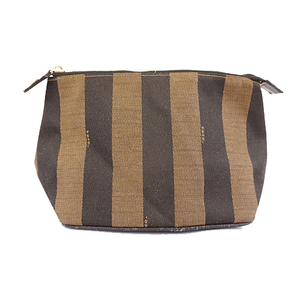 Fendi Pequin Pouch Women's Canvas Pouch Brown