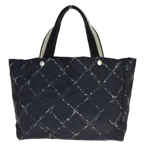 シャネル(Chanel) トラベルライン ジャカード トートバッグ ブラック