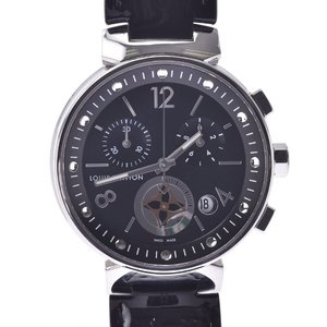 LOUIS VUITTON Louis Vuitton Tambour Moon Star Q8G01Z Boys SS Leather Watch Quartz Black Dial