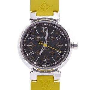 LOUIS VUITTON Louis Vuitton Tambour Monogram QA070 Ladies SS Rubber Watch Quartz Brown Dial