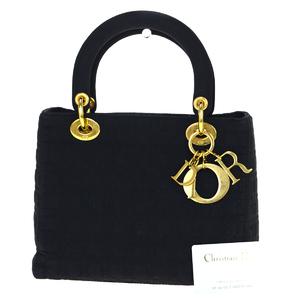 Christian Dior Cannage/Lady Dior Nylon Handbag Black