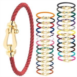 Fred Force 10 LM Leather,Stainless Steel,Yellow Gold (18K) Charm Bracelet Black,Blue,Blue Green,Bordeaux,Brown,Chocolate,Emerald,Gray,Green,Khaki,Navy,Neon Orange,Orange,Pink,Purple,Red Color,Rose Red,Silver,Turquoise,White,Yellow,Yellow Gold