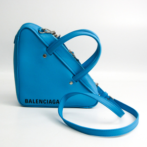 Balenciaga Triangle Duffel 531048 Women's Leather Handbag,Shoulder Bag Blue