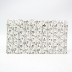 ゴヤール(Goyard) リシュリュー レザー,コーティングキャンバス 長財布(二つ折り) グレー,ホワイト