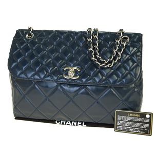 シャネル(Chanel) CClogo チェーン レザー ショルダーバッグ ネイビー
