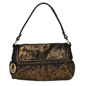 Fendi Leather Shoulder Bag Metallic Bronze