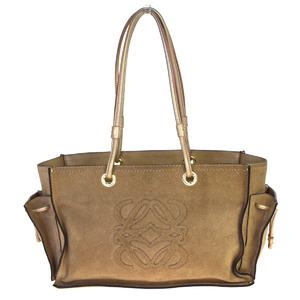 Loewe Lame Suede,Leather Shoulder Bag Gold