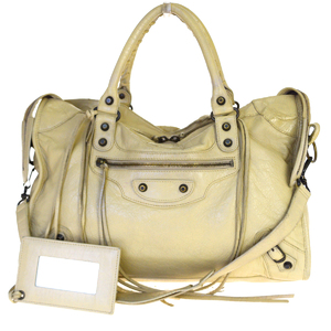 Balenciaga City 2WAY Leather Handbag Ivory