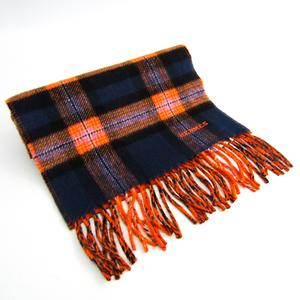 エルメス(Hermes) マフラー ユニセックス カシミア スカーフ チェック柄 ネイビー,オレンジ