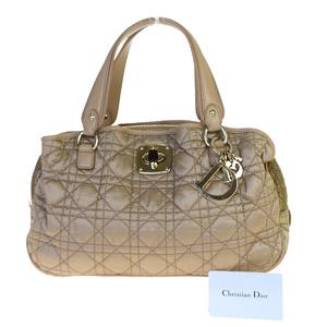 クリスチャン・ディオール(Christian Dior) カナージュ/レディ・ディオール ナイロン,レザー ハンドバッグ ベージュ