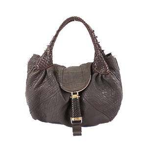 Fendi Women's Leather Handbag Shoulder Bag Tote Bag Dark Brown