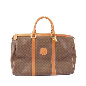 Celine Macadam Women's PVC Boston Bag Handbag Brown
