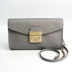 Furla Metropolis 978069 Women's Leather Shoulder Bag Gray
