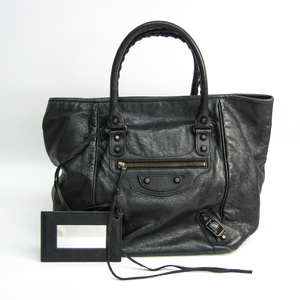 Balenciaga Sunday 228750 Leather Handbag Black