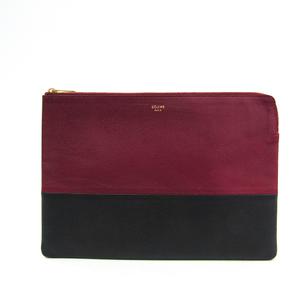 Celine 100093HTM Unisex Leather Clutch Bag Black,Bordeaux