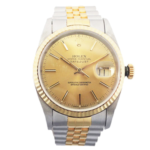 ROLEX Datejust Automatic Stainless Steel Yellow Gold Mens Watch Champagne X
