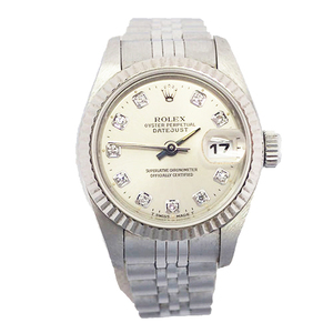 ROLEX Datejust Automatic Stainless Steel White Gold Ladies Watch 69174G