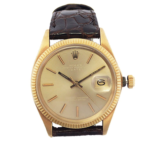 ROLEX Oyster Perpetual Date Automatic winding Brown belt Gold Dial 1503