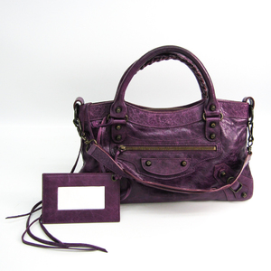 Balenciaga The First 103208 Women's Leather Handbag,Shoulder Bag Purple