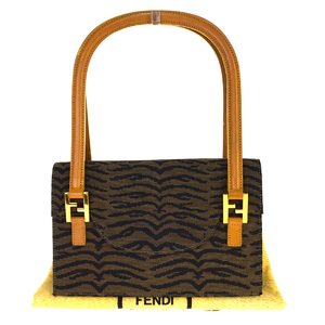 Fendi Nylon,Leather Shoulder Bag Brown