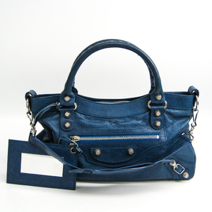 Balenciaga Giant First 285433 Women's Leather Handbag,Shoulder Bag Blue