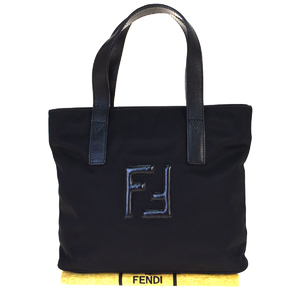 Fendi Nylon,Leather Handbag Black
