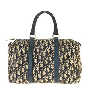 Christian Dior Trotter Canvas,Leather Handbag Navy