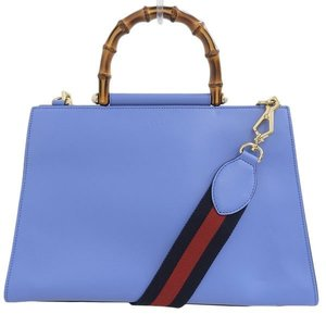 Gucci Bamboo Nimware 2WAY Hand Shoulder Bag Light Blue 453764 Leather