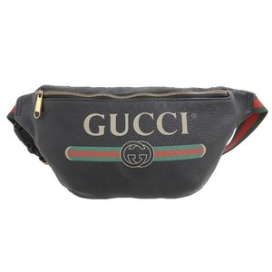 Gucci Logo Print Waist Bag Black 493869 Leather