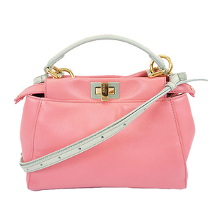 Fendi Peekaboo Handbag Shoulder Bag Light Blue Pink