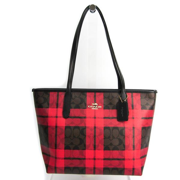 Coach Signature Field Plaid Check Print Zip Top Tote F80028 Women's Leather,PVC Tote Bag Black,Dark Brown,Red Color
