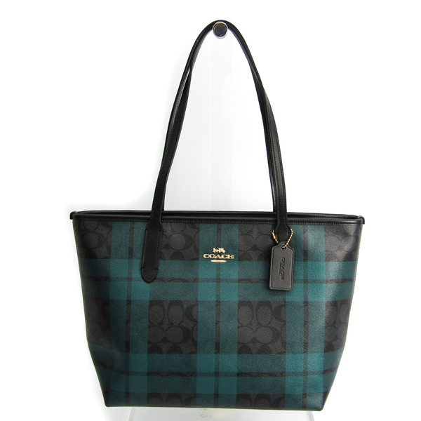 Coach Signature Field Plaid Check Print Zip Top Tote F80028 Women's Leather,PVC Tote Bag Black,Gray,Green