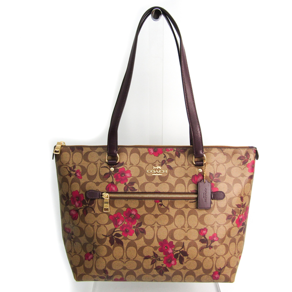 Coach Signature Victorian Floral Print Gallery Tote F88876 Women's Leather,Coated Canvas Tote Bag Berry,Khaki Brown,Multi-color