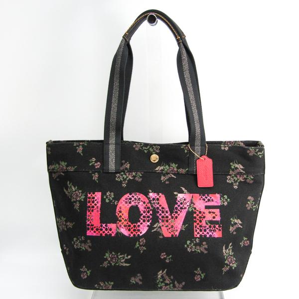 Coach Jason Nyer Graphic Floral 91106 Women's Canvas,Leather Tote Bag Black,Multi-color