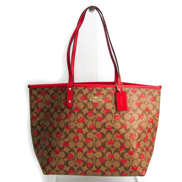 Coach Signature Reversible City Heart Print 91014 Women's Coated Canvas,Leather Tote Bag Khaki Brown,Red Color