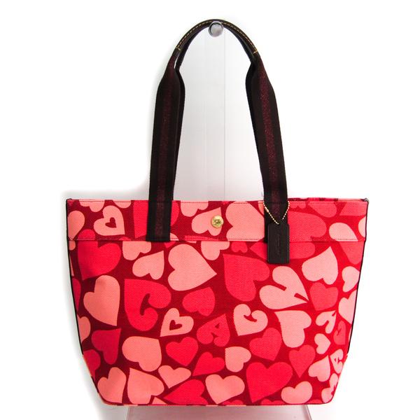 Coach Jasper Multi Heart Print 91169 Women's Canvas,Leather Tote Bag Dark Brown,Pink,Red Color